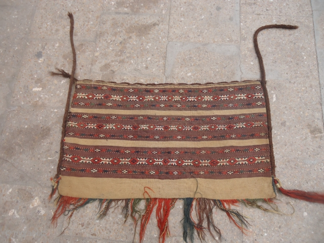 Beautiful Turkmon tent bag with original backing and excellent condition,all natural colors and very fine weave.E.mail for more info and pics.