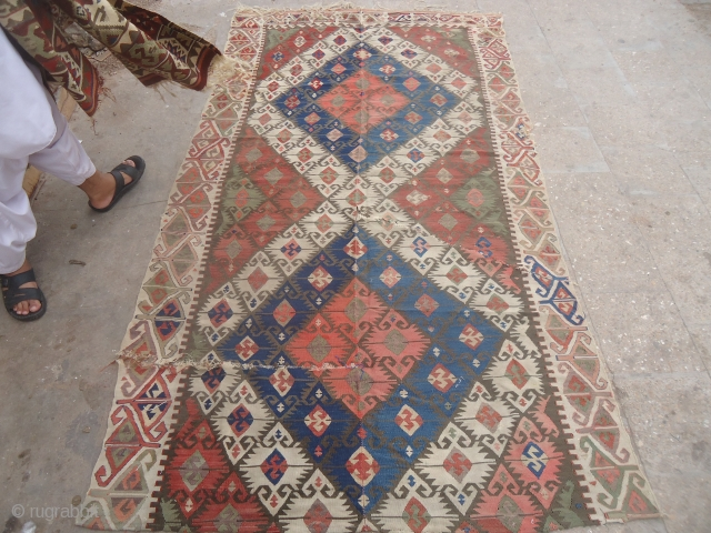 Fragmently Anatolian Kilim,good colors and nice border,as found.E.mail for more info and pics.