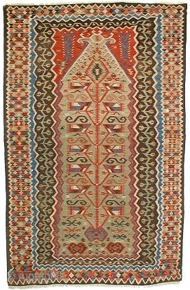 """Aydin / Kula kilim, W. Anatolia.   Woven c. 1880.   Size 1.74 x 1.11m / 5'8"""" x 3'6"""".   Perfect condition, some small areas have been restored.   ..."""