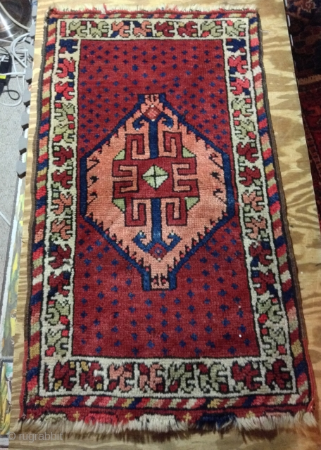 """For sale Turkish yastik, 1'7"""" x 2'10"""", early 20th Century, wool warp and weft, good pile. Small hole, 1""""x1"""" in border, both end fraying,"""