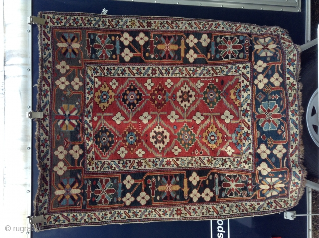 "Marasali, Caucasion, 1890's 45"" x 55"", medium pile throughout, some wear on selvedges, some wear on ends, one end has wear into first black row. other end has complete pile end. One  ..."
