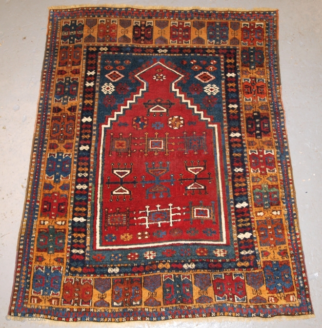 Antique Eastern Anatolian Kurdish Yuruk prayer rug.