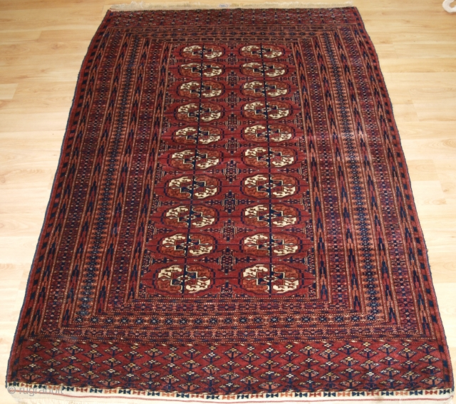 Antique Tekke Turkmen 'dip khali' rug with superb colour.  Circa 1900/20. Size: 6ft 0in x 3ft 11in (184 x 120cm). These are considered to be 'half size' rugs; half the length and half the  ...