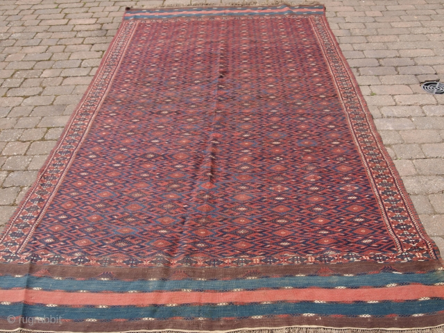 Yomut Turkmen 'pallas' kilim with unusual long kilim ends. Size: 345 x 178cm (11ft 4in x 5ft 10in). D-1058.