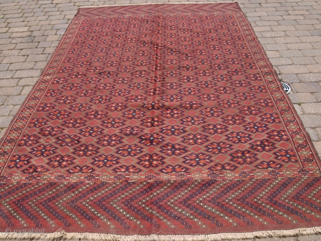Yomut Turkmen 'pallas' kilim with long decorated kilim ends. Size: 320 x 206cm (10ft 6in x 6ft 9in). D-1101.