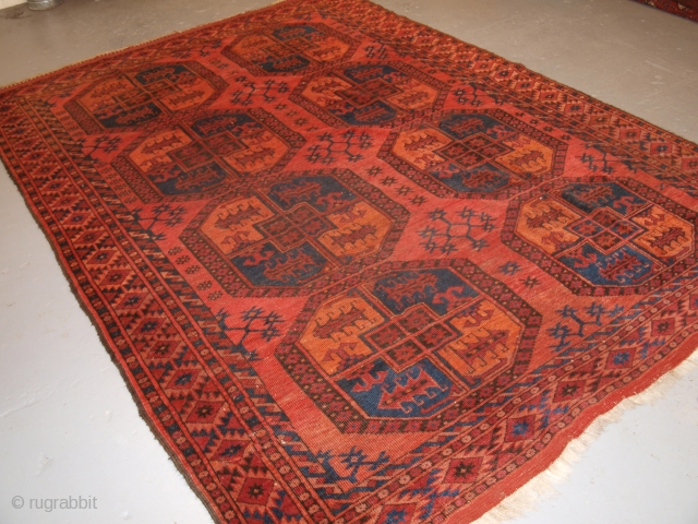 Ersari main carpet of small size with very large guls, Size: 301 x 210cm.