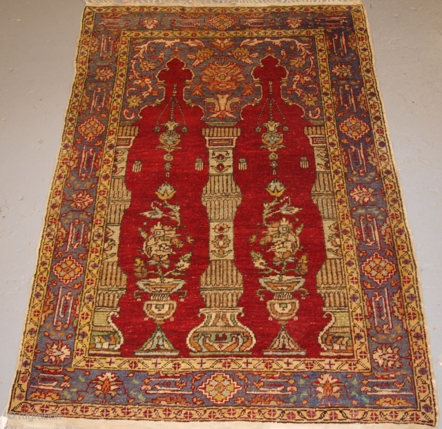 Turkish prayer rug circa 1900/20, has been wall hung for the last 80 years. Size: 180 x 124cm. Price: $495 + postage.