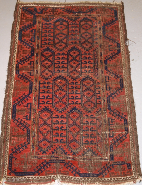 Baluch rug with good border design and interesting field, some wear but good wool. Size: 150 x 94cm. Only $250 + postage.