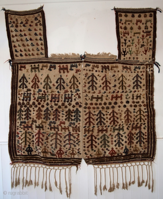 Very good Qashqai Tribal horse cover, size: 153 x 145cm excluding tassels.