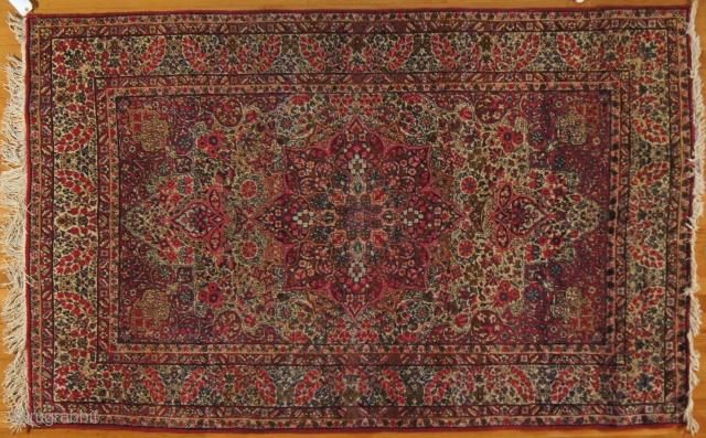 Persian Lavar Kirman, c. 1920. 5 x 7 ft (150 x 210 cm), mint condition.
