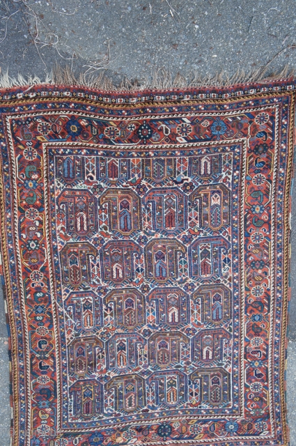 """White ground Shiraz with boteh design, Ca. 1930, 5'8"""" x 6' 7"""".  All nice colors, good pile with no hidden problems' no rot, color bleed or odors. Very slight loss at  ..."""