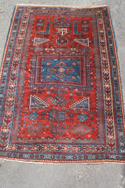 "Kazak prayer rug, last quarter of the 19th C. 4' x 6' 1"". All good colors with thick glossy wool. Small area of past moth damage on reverse. No rot, odor, stain  ..."