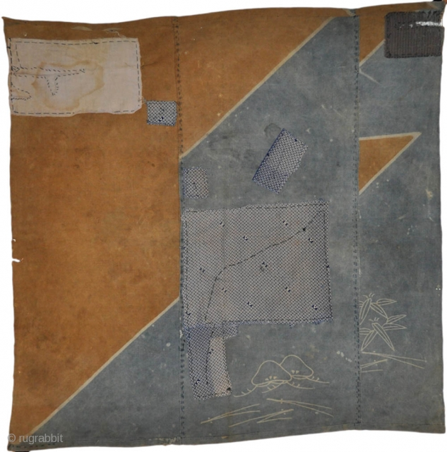 Japanese boro square panel made with two large fragments from a tsutsugaki textile, a blue and white cotton fragment printed with a pattern including the letters A B C and other patches,  ...