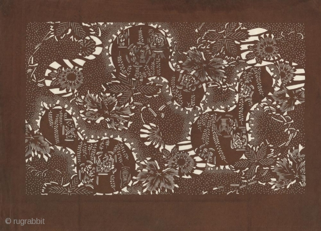Japanese paper stencil (katagami) for textile printing with a pattern of gourds and flowers.First half of 20th century. 29x40,5 cm. Very good conditions.