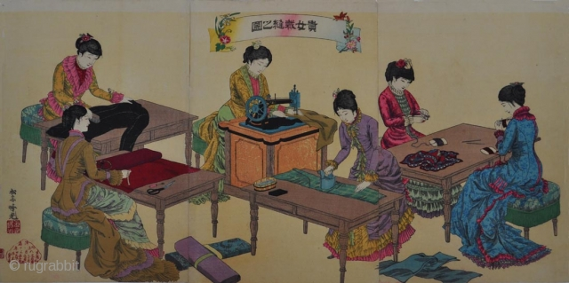 Original Japanese woodblock triptych by Adachi Ginko (active 1874 - 1897) with six ladies in western dress sewing. Signed Shosai Ginko and artist's seal Shinsho Ginko. Published by Sasaki Toyokichi in Meiji 20  ...