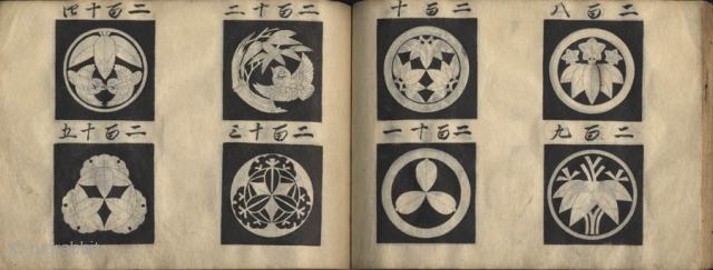 Japanese album of hand painted crest. One volume, complete, 13 x 19 cm. Unsigned. Title unread.  The album is including 210 family and trade mon finely painted in black ink on 54  ...