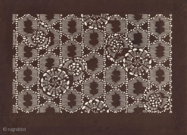 Japanese paper stencil (katagami) for textile printing with a pattern of stylized sparrows and flowers. First half of 20th century.31x41 cm. Very good conditions.