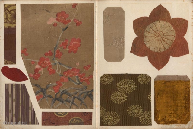 Japanese orihon album Kogire harikomicho (Album of antique textiles fragments). Ninty-five fine fragments of antique Japanese textile including brocades and embroideries pasted on twenty-eight pages. 24x18 cm. The album ca. 1900, the textiles  ...