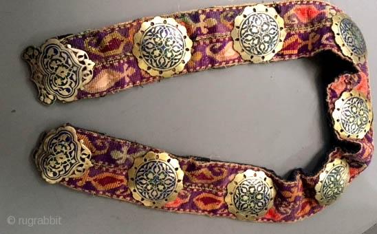 Fine Uzbek belt , gilt silver with enameling on embroidery belt late 19th c