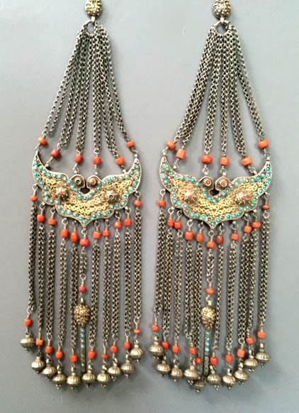 Pair of gilt silver , turquoise inlaid with coral bird Chapani's from Khiva area of Khorezm Uzbekistan late 19th c