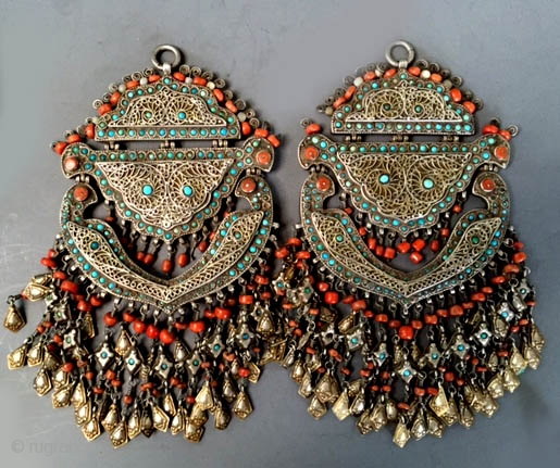 Pair of silver gilt filigree , coral and turquoise ornaments from Khiva area of Khorezm Uzbekistan late 19th c