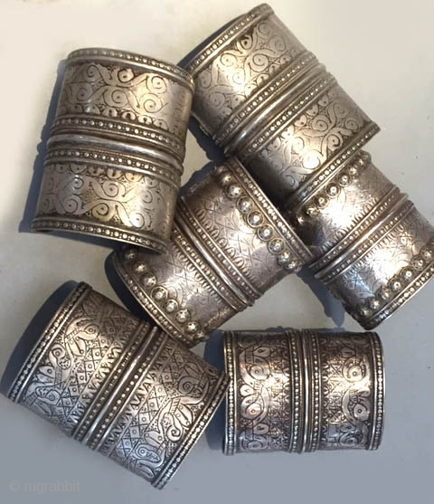 Silver cuff collection sold as pairs , worn by the Turkoman groups living around the Amu Darya river region in Uzbekistan.