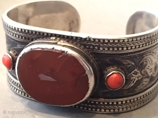 Silver , coral and carnelian cuff from Dagestan 19th c