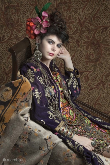 late 19th c  Ottoman velvet jacket with gold embroidery