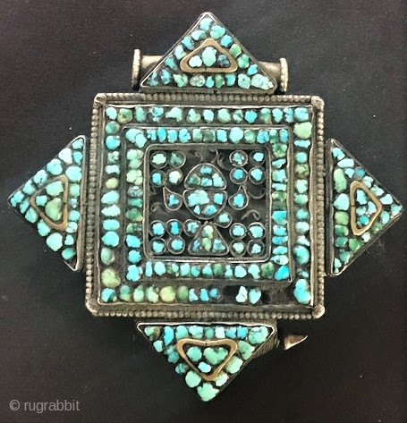 Silver and turquoise gau box Tibetan 19th c