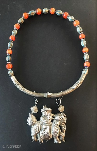 Mongolian lock necklace with enameling and carnelian, late 19th c.
