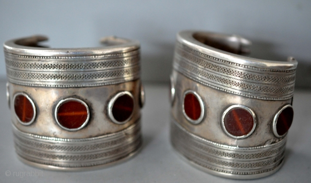 Pair of great silver Yomud cuffs with carnelian late 19th c
