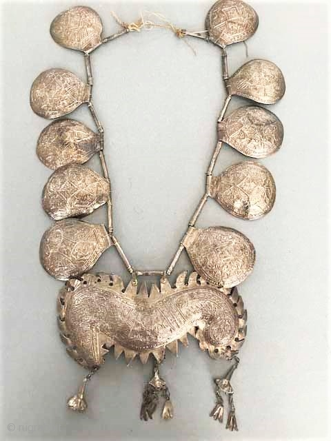 Indonesian silver necklace over copper base, original configuration, from Sumatra, Minangkabau people early 20th c.