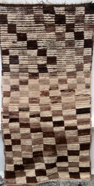 MOROCCAN BERBER HIGH ATLAS RUG. The simplistic designs have been achieved by using only various shades of undyed local Berber wools. The pile is knotted with the unique Berber overlapped knot which  ...