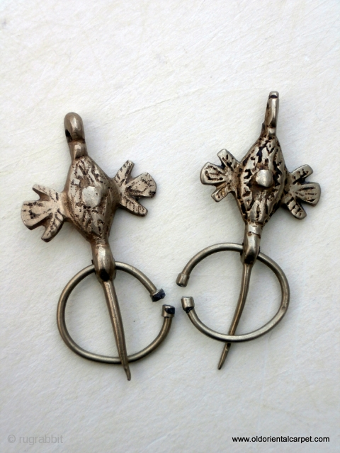 PAIR OF MOROCCAN BERBER FIBULAS / BROOCHES These are used by Berber women either as a single pin to hold the front of a cape or sometimes as a pair to pin  ...