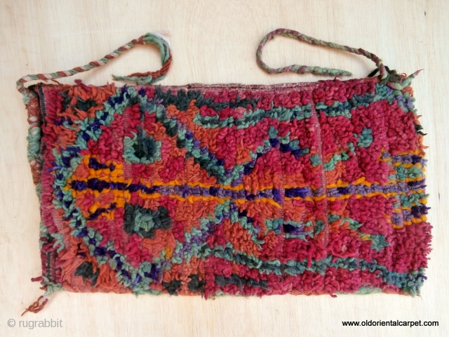 "MOROCCAN BERBER HIGH ATLAS BAG. This shape and size bag is called ""Aalau"" and is often woven by a Berber woman to give to her daughter and son in law after marriage.  ..."