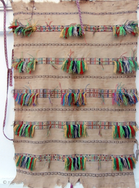"MOROCCAN BERBER CAPE which is called a ""Handira"" and is an antique piece from the Beni Ourain Berber group in the Middle Atlas mountains. The foundation flat weave is exceptionally fine. The  ..."
