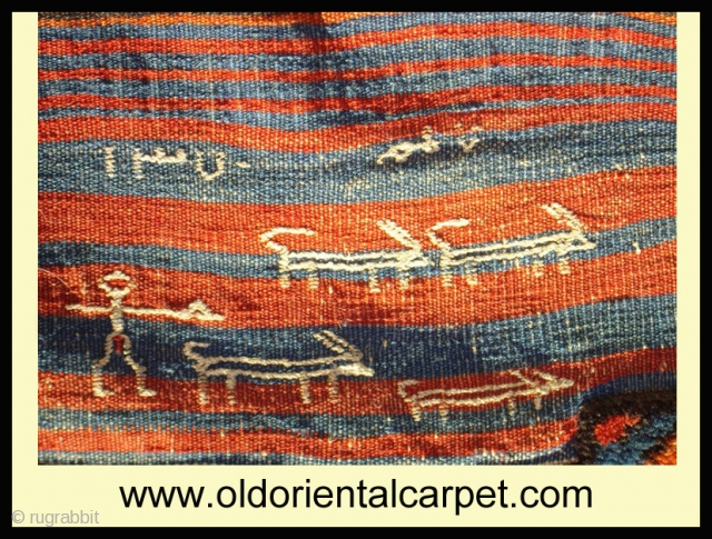 www.oldorientalcarpet.com Kurdish shepherd with small flock of goats looking for new home. The fascinating inscriptions on the reverse reveal a man with his goats and the date AH 1370 together with a  ...