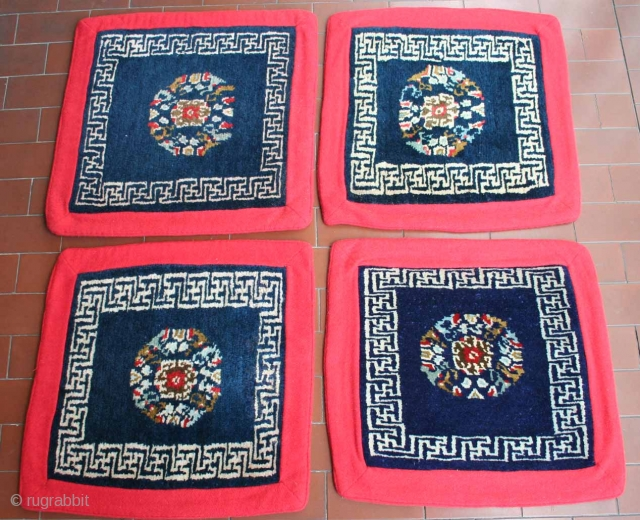 Looking for something cheap but special? This is an absolutely unusual set of four small Tibetan carpets i found in Ladakh, Indian Himalaya (former western Tibet). Size is uncommon, circa 40 x  ...