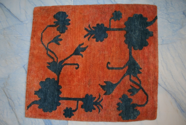 "Lovely Tibetan mat, rare pattern with indigo flowers cut in high relief (Tib.: buma rimo, i.e. ""cut like a mountain""), good condition, uncommon, circa 1920-30, Xmas special."