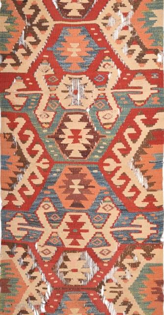 West Anatolian Probably Mut Circa 1850s Kilim Size 65 x 285 Cm