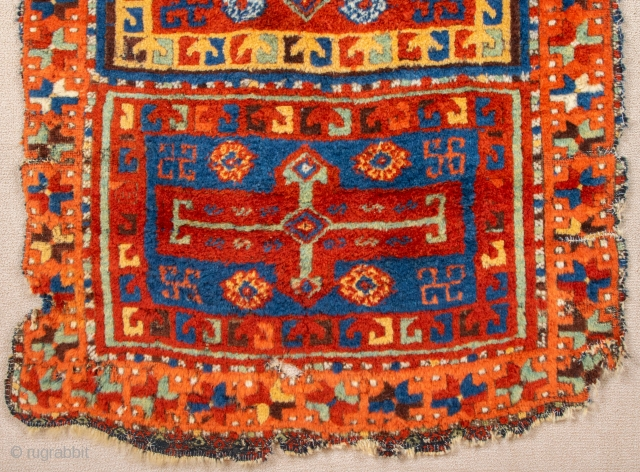 """Early 19th Century East Anatolian Sivas Area Rug.Like the comparative example in the Sivas museum (described as """"Erzincan""""), this piece has a field divided into four box-shaped sections,each containing a large cross  ..."""