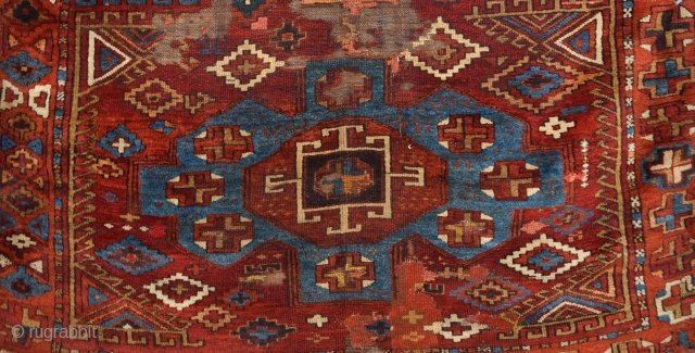 Early 19th Century Central Anatolian Konya Probably Karapınar Area Rug Size 150 x 160 Cm
