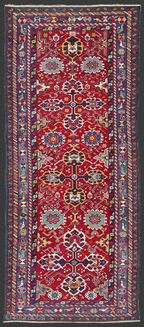 Circa 1850s South East Caucasus, Azerbaijan Unusual Rug  Drawn with great precision, this carpet is a workshop product woven in the town of Khila situated west of Baku. Three large crosses placed on  ...