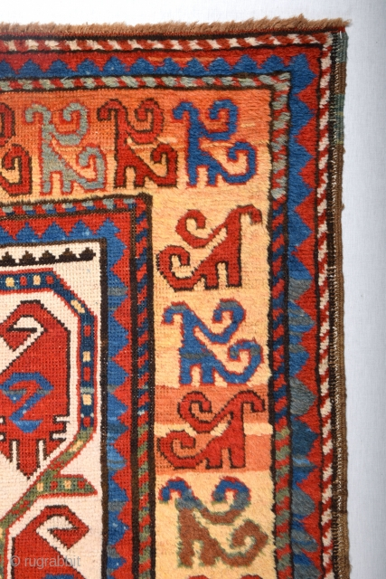 Caucasian Second Half 19th Century Condition: good, low pile in places, very few small repairs Warp: wool, weft: wool and cotton.Size 280 x 113 Cm (9ft. 2in. x 3ft. 8in.)