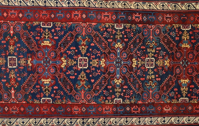 19th Century Caucasian Zechur Rug With Perfect Condition And All The Colors Are Naturel.Size 146 x 350 Cm Untouched One As Found İt.