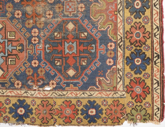 Circa 1800s Unusual Early East Caucasian Fragment Size 88 x 132 Cm It Has Great Colors.