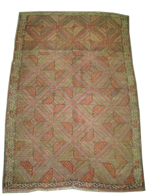"""Beshir Turkmen knotted circa in 1905 antique,  212 x 144 (cm) 6' 11"""" x 4' 9""""  carpet ID: K-593 The black color is oxidized, the knots are hand spun wool, allover  ..."""