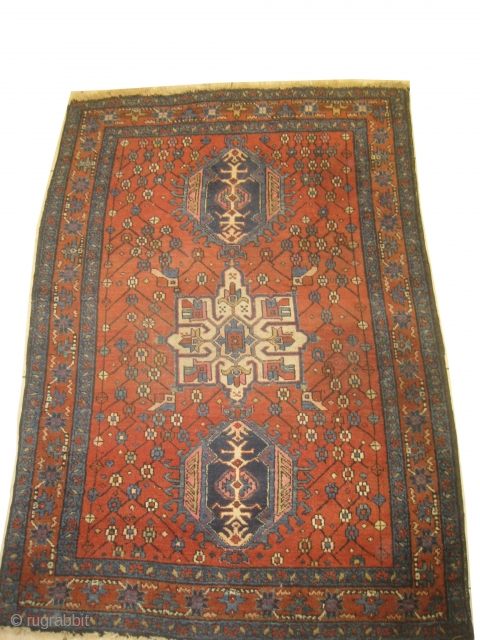 Karadja Persian, knotted circa in 1918 antique, 98 x 144 cm, carpet ID: DD-25 the pile is slightly short, in good condition.