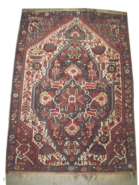"Khamseh Persian knotted circa in 1916 antique. 174 x 124 (cm) 5' 8"" x 4' 1""  carpet ID: E-461
