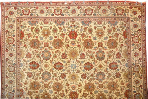 """Qoum Persian, 320 x 218 (cm) 10' 6"""" x 7' 2""""   carpet ID: P-4949 The knots are hand spun lamb wool, high pile, in good condition, the surrounded large border and  ..."""